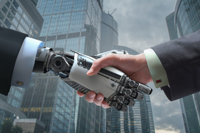 Man shacking robot hand in city